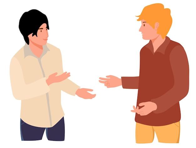 Twee jonge mensen die samen spreken tiener- of volwassen mannelijke personages praten scène van dialoog tussen
