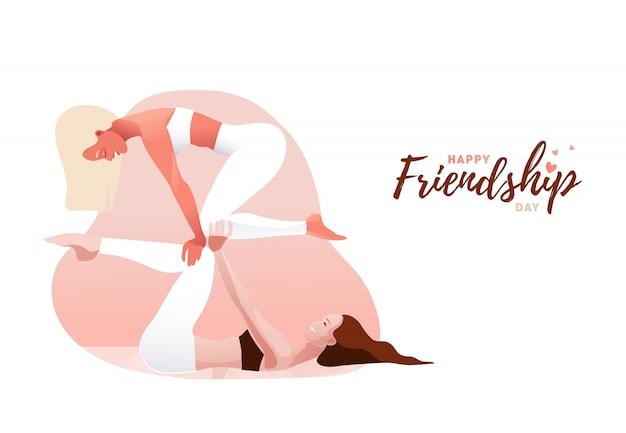 Twee jonge vrouwen die acroyoga in paar uitoefenen. evenwicht, steun, eenheid, vrouwelijke vriendschap of zusterschapconcept. gelukkige vriendschap dag.