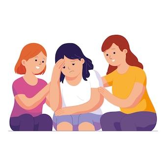 Twee jonge vrouwen kalmeren en troosten hun trieste vrienden