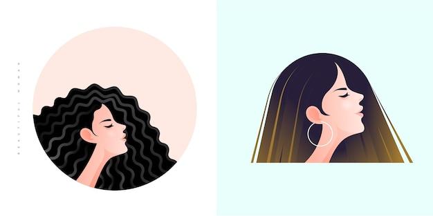 Twee jonge vrouwen zijgezicht portret met twee verschillende kapsels