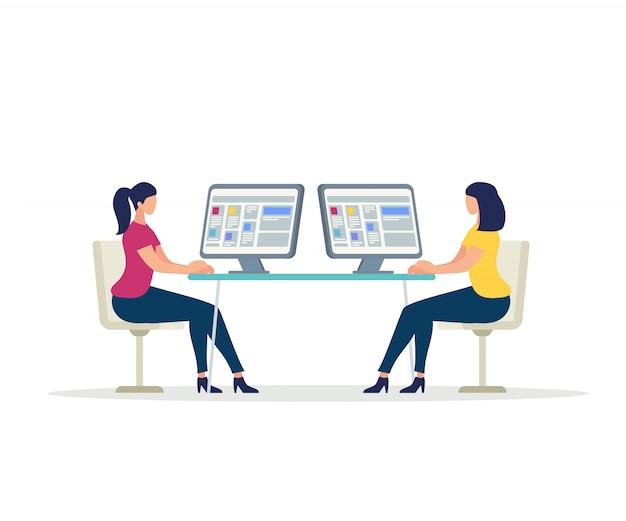 Twee jonge vrouwentekens die aan computers werken
