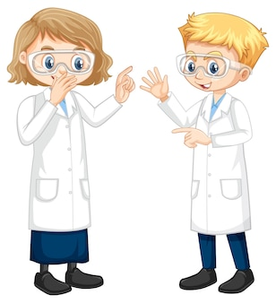 Twee jonge wetenschapper die met elkaar praten