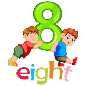Twee jongens dragen groot nummer acht