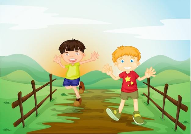 Twee jongens in het veld