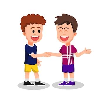 Twee jongens lachend en handen schuddend