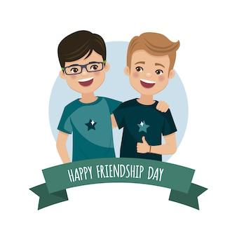 Twee jongens op de vriendschapsdag. voor altijd vrienden verenigd.