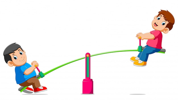 Twee jongens spelen op wip