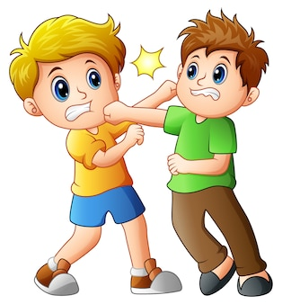 Twee jongens vechten