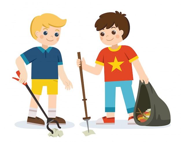 Twee jongensvrijwilligers die pakketten vasthouden en afval verzamelen. fijne aarde dag. red de aarde. groene dag. ecologie concept.