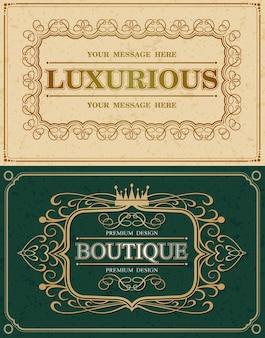 Twee kalligrafische sierlijke en luxe frames, retro vintage monogram designelementen, bloeien kalligrafie monogram, vectorillustratie