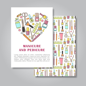 Twee kanten uitnodigingskaart ontwerp met manicure en pedicure