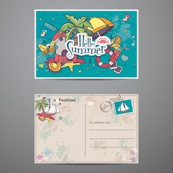 Twee kanten van een ansichtkaart met doodles in de zomertijd