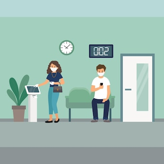 Twee karakters wachten op afspraak binnenshuis. man en vrouw, gekleed in witte gezichtsmaskers en medische handschoenen.