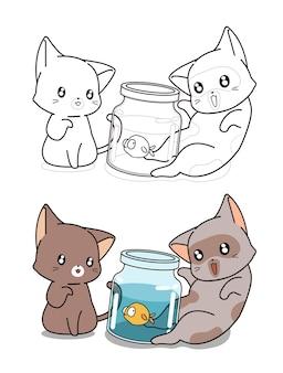 Twee katten en kleine vissen cartoon kleurplaat