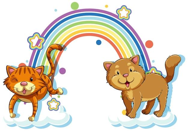Twee katten stripfiguur met regenboog