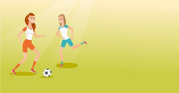 Twee kaukasische voetballers die voor een bal vechten