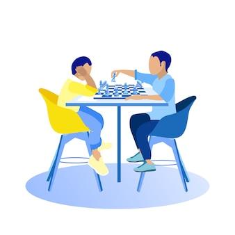 Twee kerels die schaak op witte achtergrond spelen.