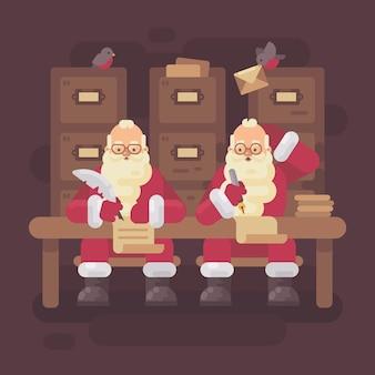 Twee kerstmannen schrijven brieven aan kinderen