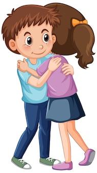 Twee kinderen die elkaar knuffelen