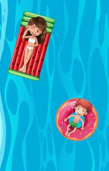 Twee kinderen die op inflatables ontspannen