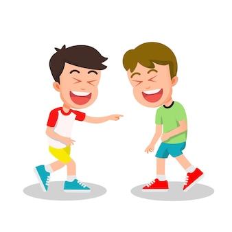 Twee kinderen die samen hardop lachen