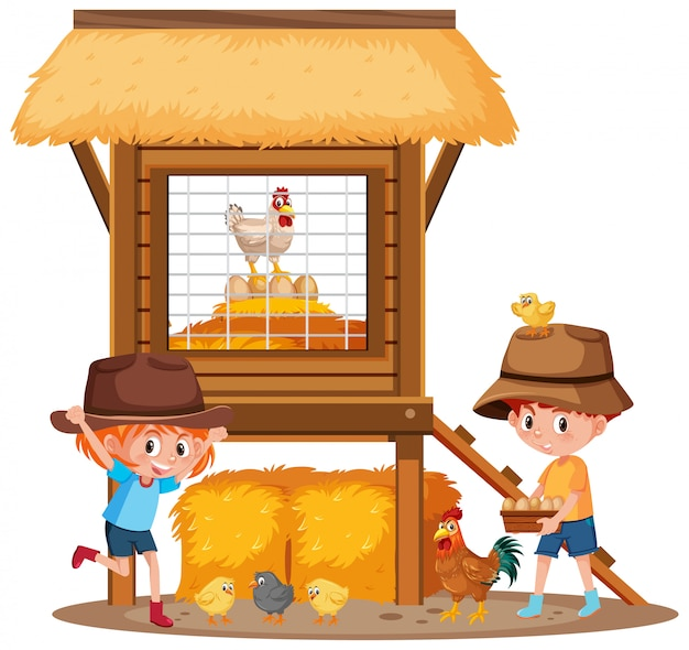 Twee kinderen en kippen op de boerderij