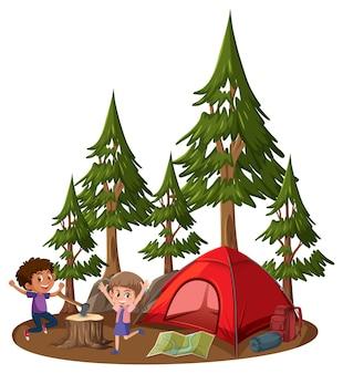 Twee kinderen met kampeertent op witte achtergrond