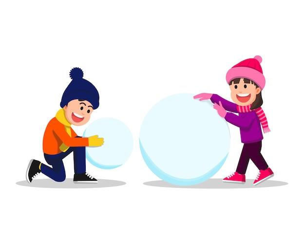 Twee kinderen proberen een sneeuwpop te maken