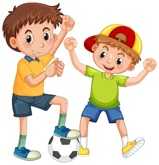 Twee kinderen spelen voetbal stripfiguur