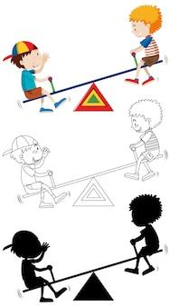 Twee kinderen spelen wip met zijn omtrek en silhouet