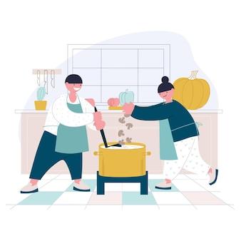 Twee kinderen staan in de keuken in een grote pot champignons en pompoensoep te koken
