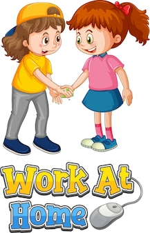 Twee kinderen stripfiguur houden geen sociale afstand met work at home lettertype geïsoleerd op wit