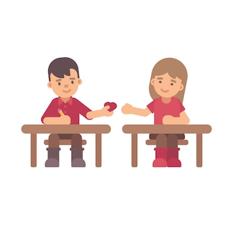 Twee kinderen sturen liefdesbriefjes