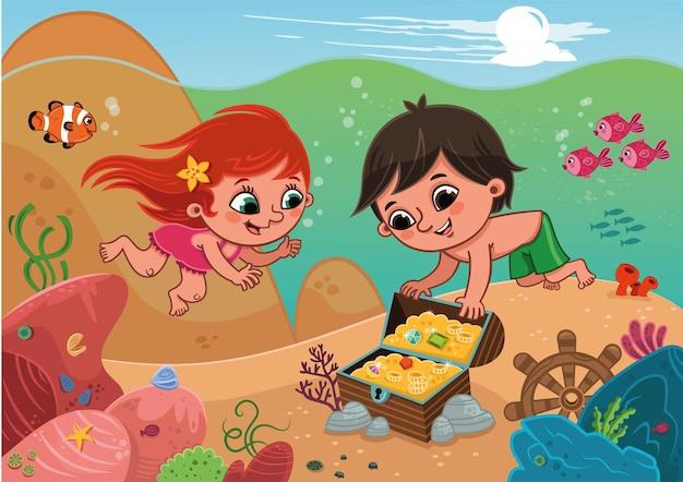 Twee kinderen vonden een schatkist tijdens het duiken vectorillustratie