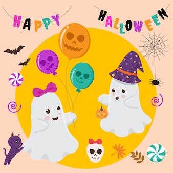 Twee kleine geesten komen naar buiten om te spelen op halloween
