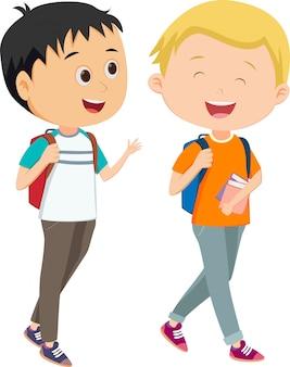 Twee kleine jongens liepen samen naar school