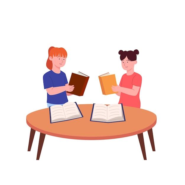 Twee kleine kinderen studeren samen boekillustratie lezen