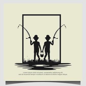 Twee kleine kinderen vissen ontwerp illustratie inspiratie Premium Vector