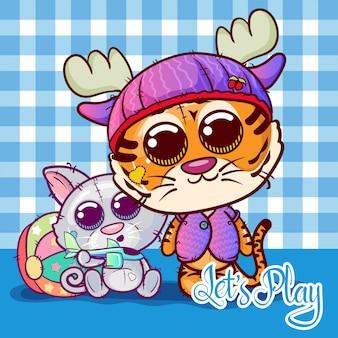 Twee kleine schattige tijger en kat cartoon. vector