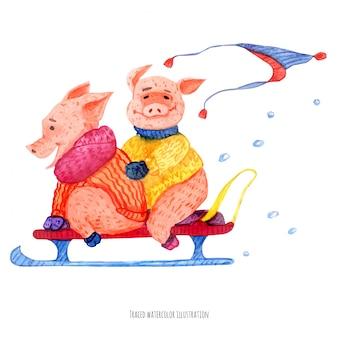 Twee kleine varkens op de slee
