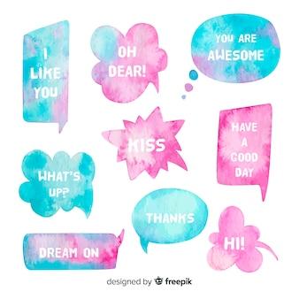 Twee kleuren watergekleurde tekstballonnen