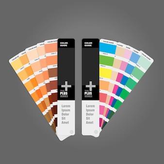 Twee kleurenpaletten voor gedrukte gidsboek voor ontwerper