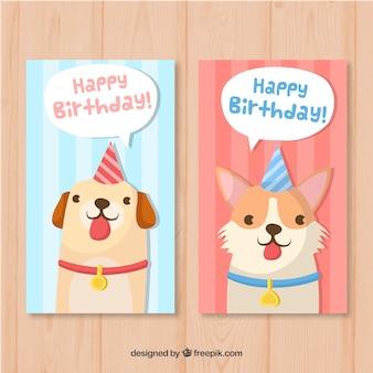 Twee kleurrijke hand getrokken verjaardagskaarten met honden