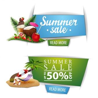 Twee klikbare banners van de zomerverkoop met knopen