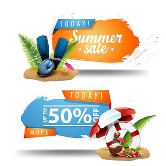 Twee klikbare banners voor de zomerverkoop