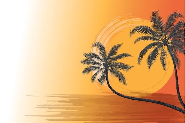 Twee kokospalmensilhouet op een strand voor de warme zonsondergangscène van de borstelslag