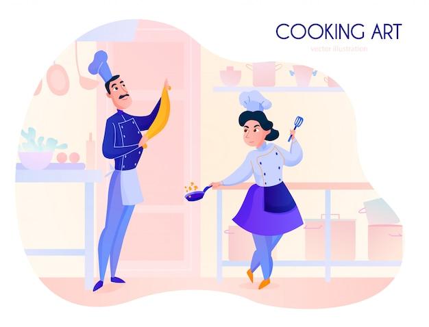 Twee koks die in het beeldverhaal van de restaurantkeuken werken