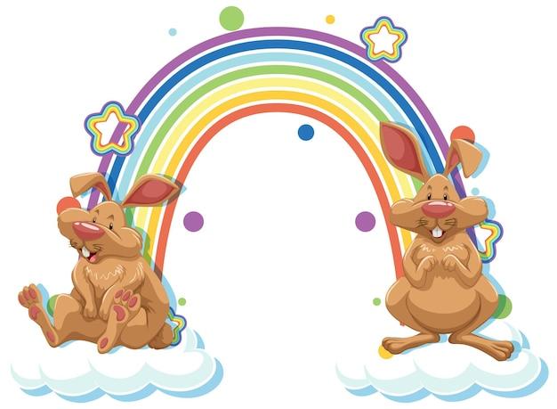 Twee konijnen stripfiguur met regenboog