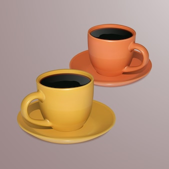 Twee kopjes met koffie