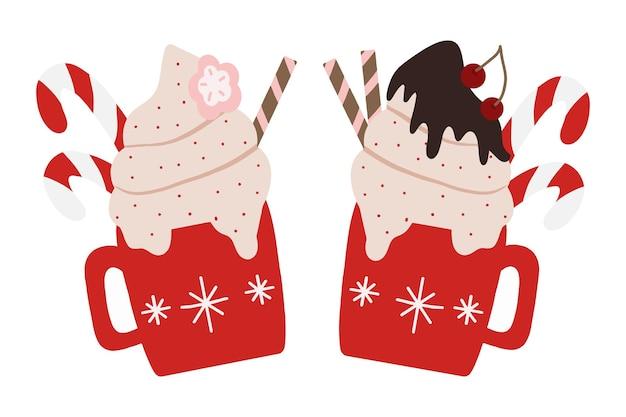 Twee kopjes voor de wintervakantie met drankje mokken met warme chocolademelk, cacao of koffie met room